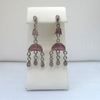 Chilean 2 tier dangle post earrings with Rhodochrocite